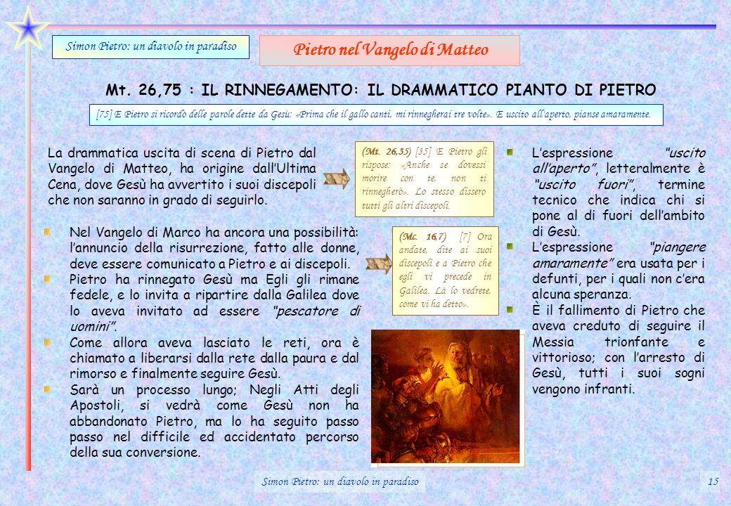 Mt. 26,75 : IL RINNEGAMENTO: IL DRAMMATICO PIANTO DI PIETRO Simon Pietro: un diavolo in paradiso Pietro nel Vangelo di Matteo La drammatica uscita di