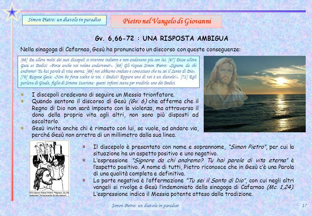 Gv. 6,66-72 : UNA RISPOSTA AMBIGUA Simon Pietro: un diavolo in paradiso Pietro nel Vangelo di Giovanni [66] Da allora molti dei suoi discepoli si tira