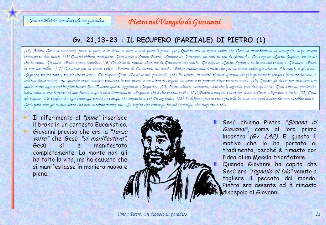 Gv. 21,13-23 : IL RECUPERO (PARZIALE) DI PIETRO (1) Simon Pietro: un diavolo in paradiso Pietro nel Vangelo di Giovanni Il riferimento al pane inseris