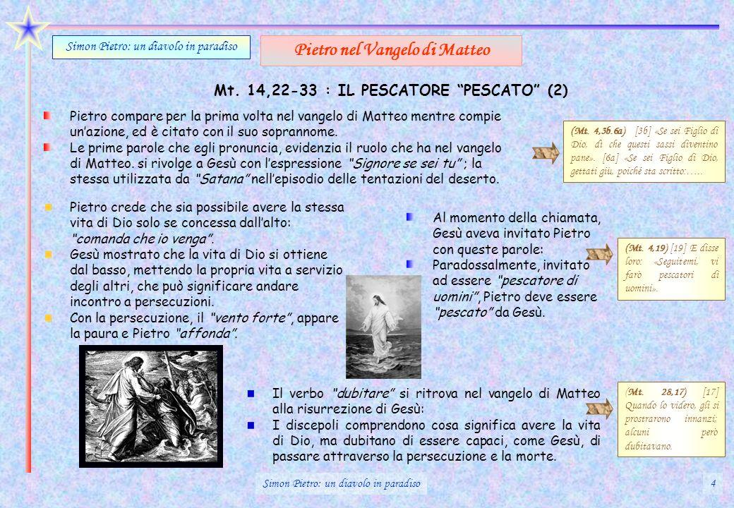 Mt. 14,22-33 : IL PESCATORE PESCATO (2) Pietro compare per la prima volta nel vangelo di Matteo mentre compie unazione, ed è citato con il suo soprann