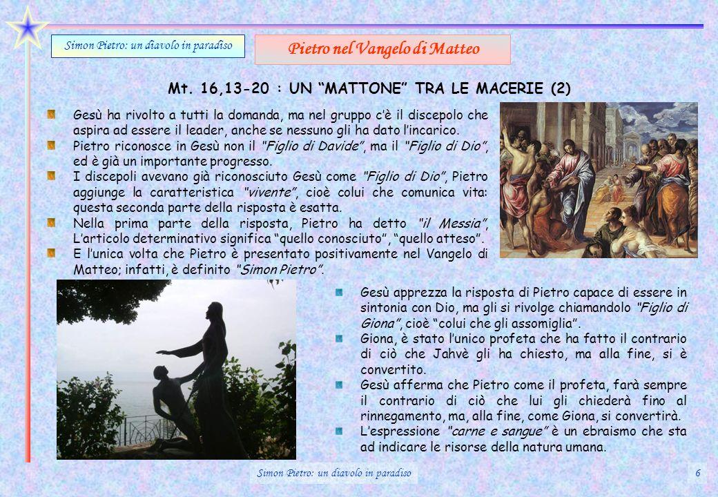 Mt. 16,13-20 : UN MATTONE TRA LE MACERIE (2) Gesù ha rivolto a tutti la domanda, ma nel gruppo cè il discepolo che aspira ad essere il leader, anche s