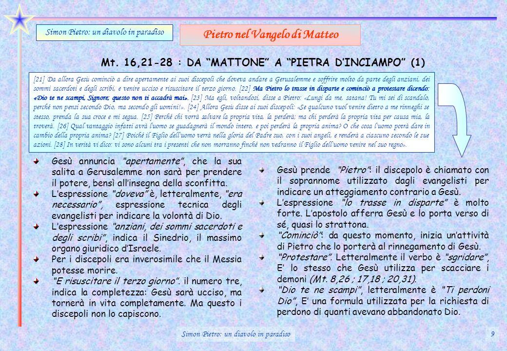 Mt. 16,21-28 : DA MATTONE A PIETRA DINCIAMPO (1) Simon Pietro: un diavolo in paradiso Pietro nel Vangelo di Matteo [21] Da allora Gesù cominciò a dire