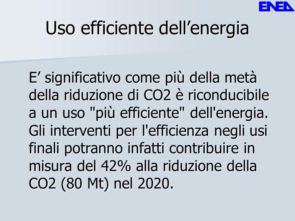 Uso efficiente dellenergia E significativo come più della metà della riduzione di CO2 è riconducibile a un uso