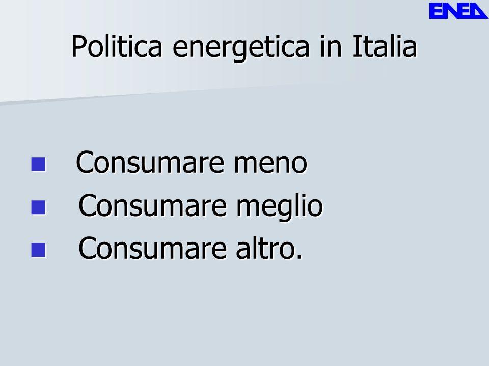 Politica energetica in Italia Consumare meno Consumare meno Consumare meglio Consumare meglio Consumare altro. Consumare altro.