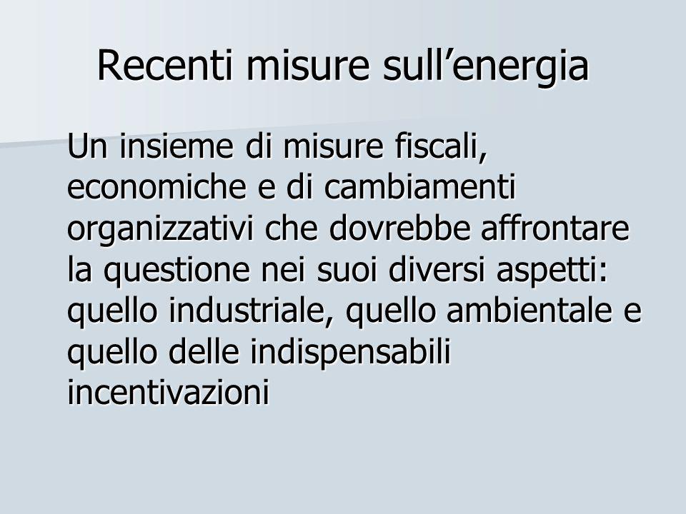 Recenti misure sullenergia Un insieme di misure fiscali, economiche e di cambiamenti organizzativi che dovrebbe affrontare la questione nei suoi diver