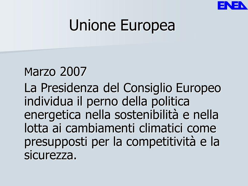 Unione Europea M arzo 2007 La Presidenza del Consiglio Europeo individua il perno della politica energetica nella sostenibilità e nella lotta ai cambi
