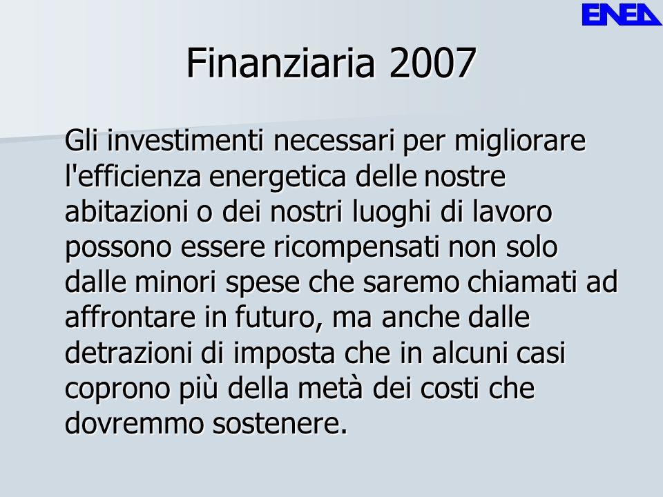 Finanziaria 2007 Gli investimenti necessari per migliorare l'efficienza energetica delle nostre abitazioni o dei nostri luoghi di lavoro possono esser