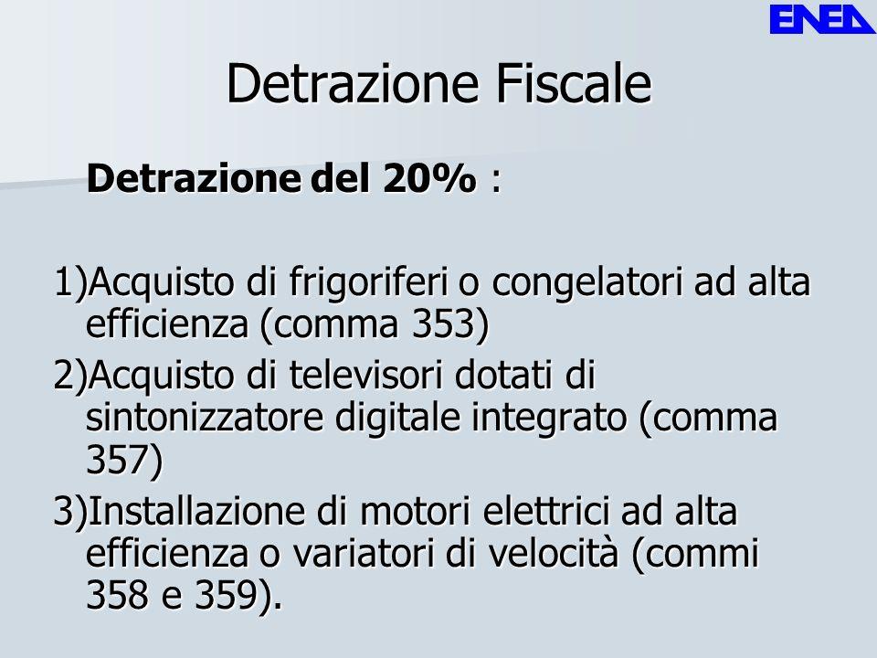 Detrazione Fiscale Detrazione del 20% : 1)Acquisto di frigoriferi o congelatori ad alta efficienza (comma 353) 2)Acquisto di televisori dotati di sint