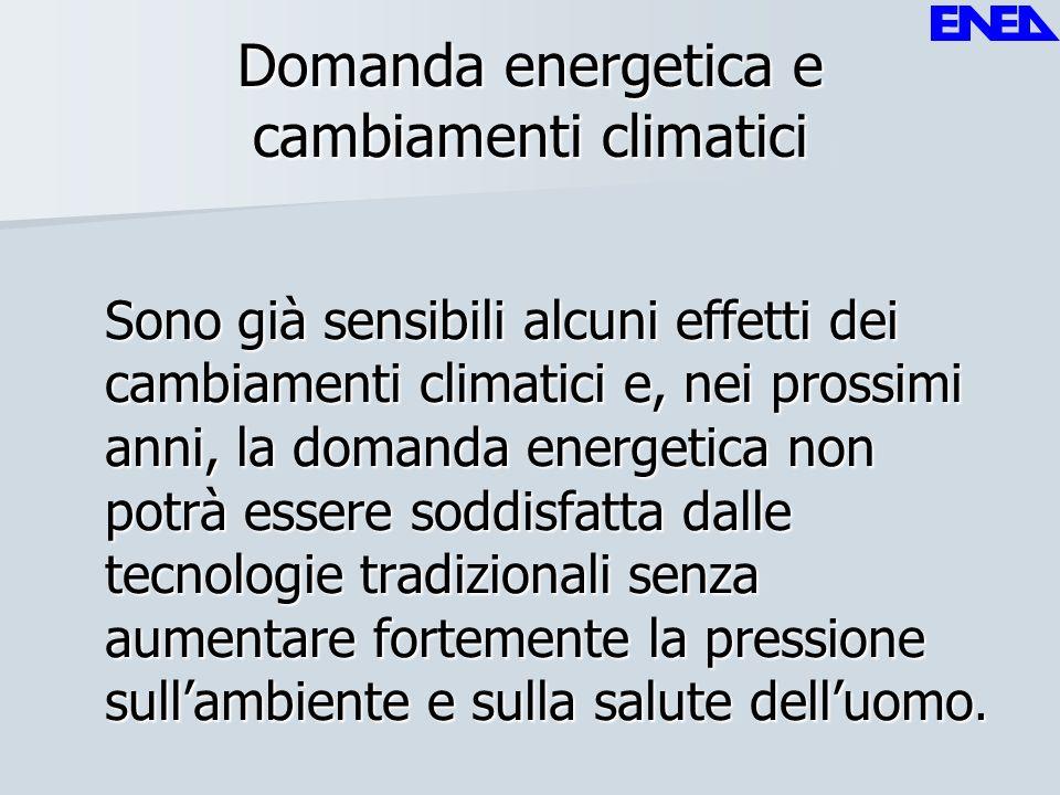 Domanda energetica e cambiamenti climatici Sono già sensibili alcuni effetti dei cambiamenti climatici e, nei prossimi anni, la domanda energetica non