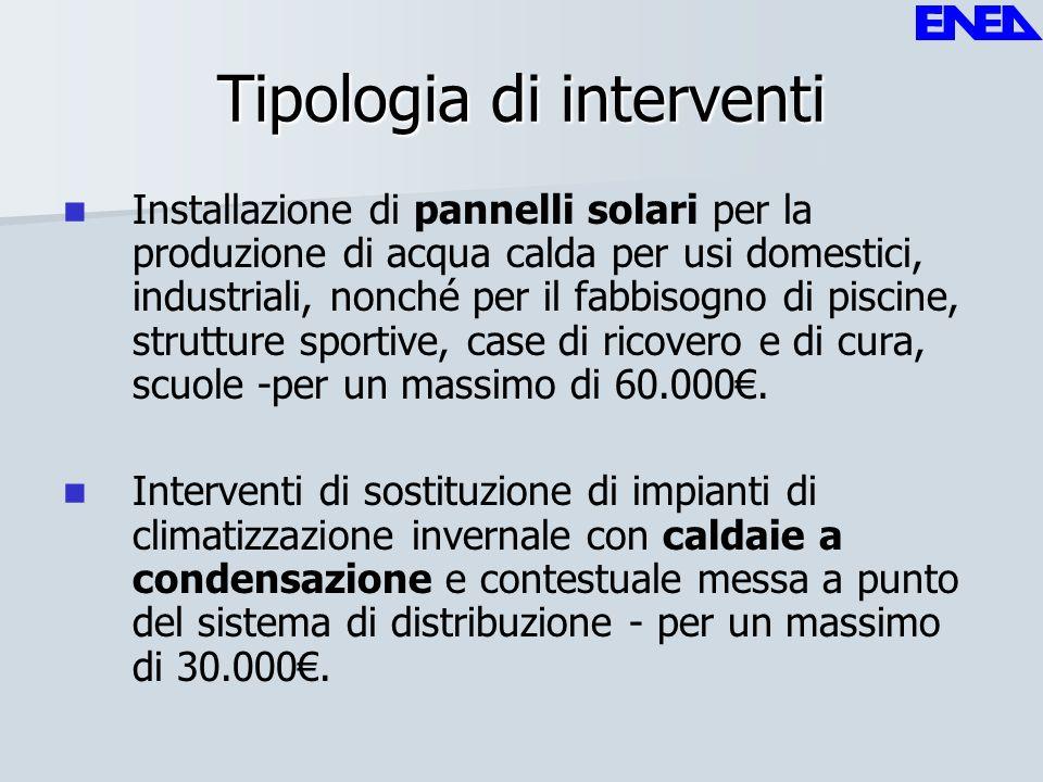 Tipologia di interventi Installazione di pannelli solari per la produzione di acqua calda per usi domestici, industriali, nonché per il fabbisogno di