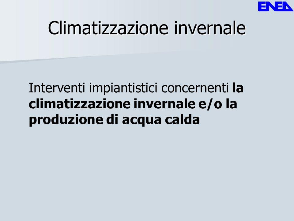 Climatizzazione invernale Interventi impiantistici concernenti la climatizzazione invernale e/o la produzione di acqua calda