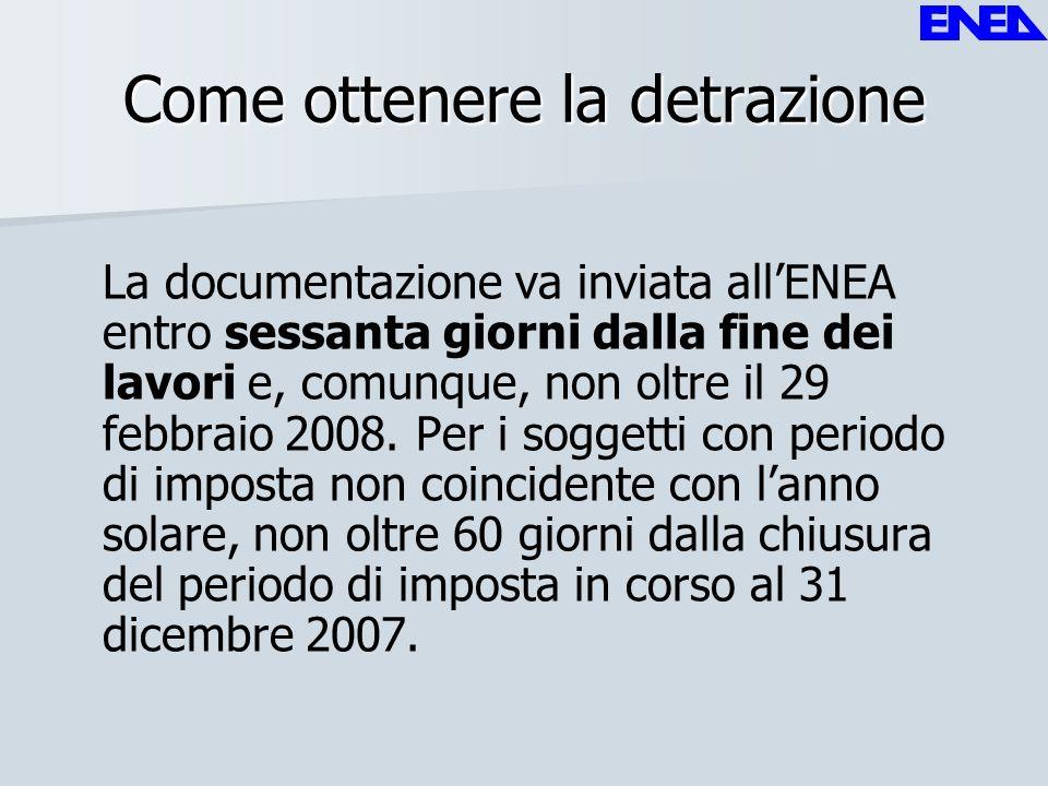 Come ottenere la detrazione La documentazione va inviata allENEA entro sessanta giorni dalla fine dei lavori e, comunque, non oltre il 29 febbraio 200