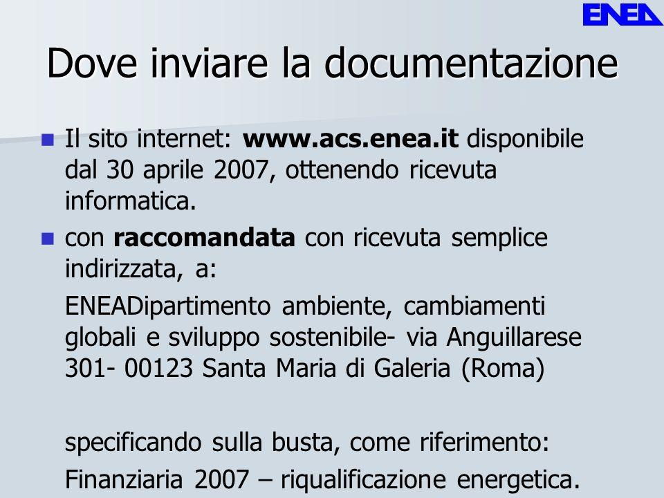 Dove inviare la documentazione Il sito internet: www.acs.enea.it disponibile dal 30 aprile 2007, ottenendo ricevuta informatica. con raccomandata con