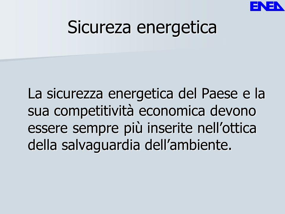 Sicureza energetica La sicurezza energetica del Paese e la sua competitività economica devono essere sempre più inserite nellottica della salvaguardia