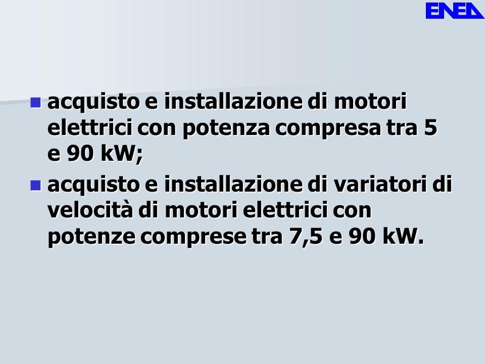 acquisto e installazione di motori elettrici con potenza compresa tra 5 e 90 kW; acquisto e installazione di motori elettrici con potenza compresa tra