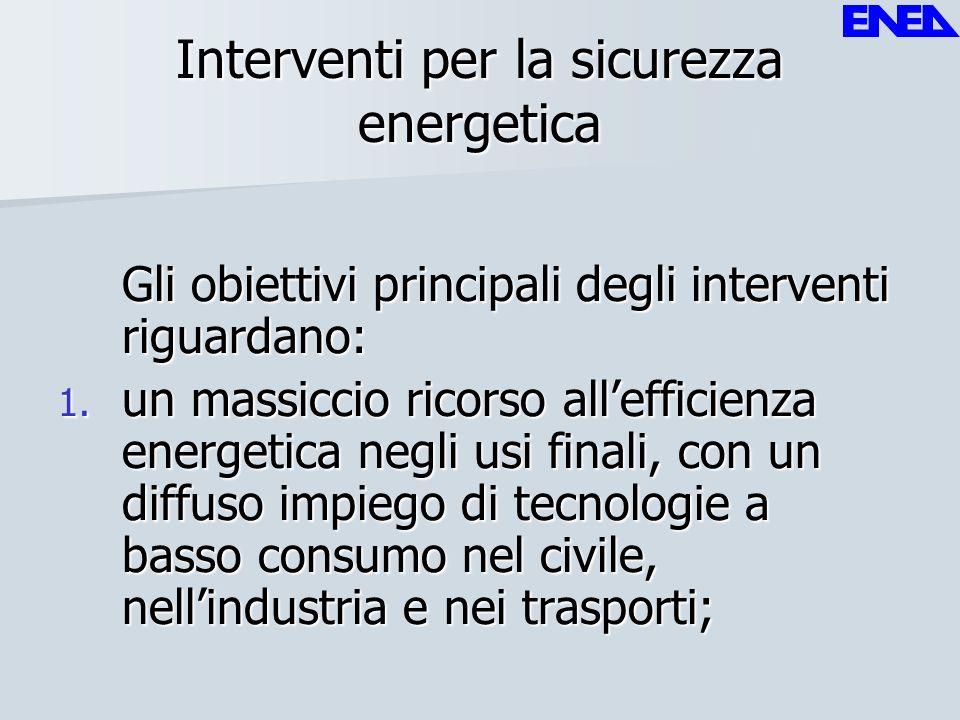 Interventi per la sicurezza energetica Gli obiettivi principali degli interventi riguardano: 1. un massiccio ricorso allefficienza energetica negli us