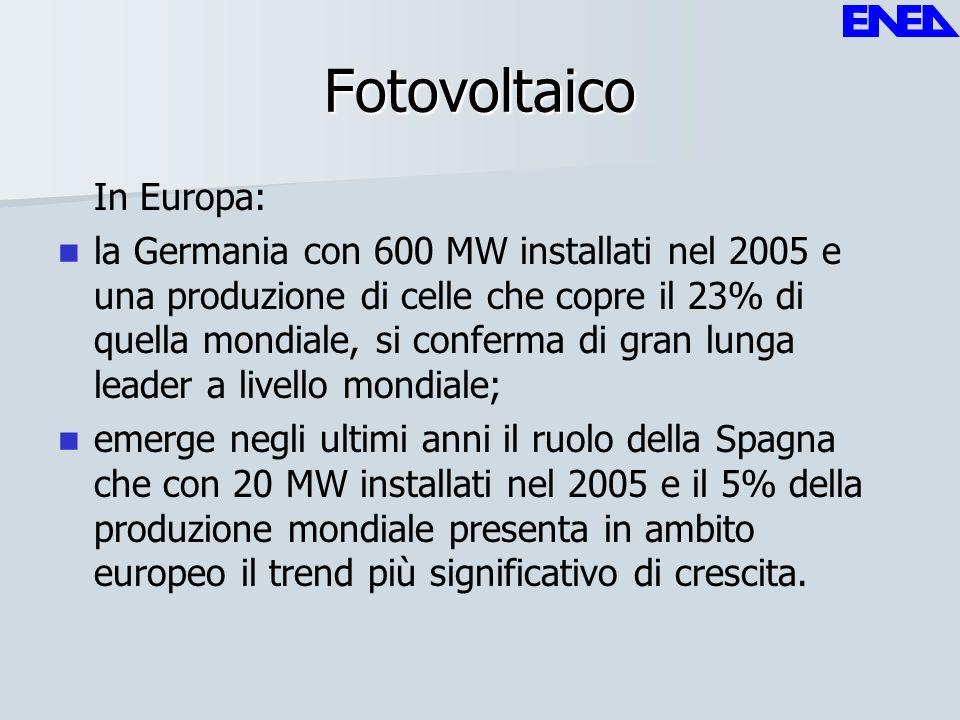 Fotovoltaico In Europa: la Germania con 600 MW installati nel 2005 e una produzione di celle che copre il 23% di quella mondiale, si conferma di gran