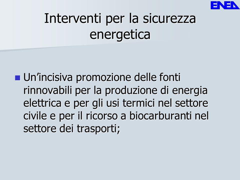 Interventi per la sicurezza energetica Unincisiva promozione delle fonti rinnovabili per la produzione di energia elettrica e per gli usi termici nel