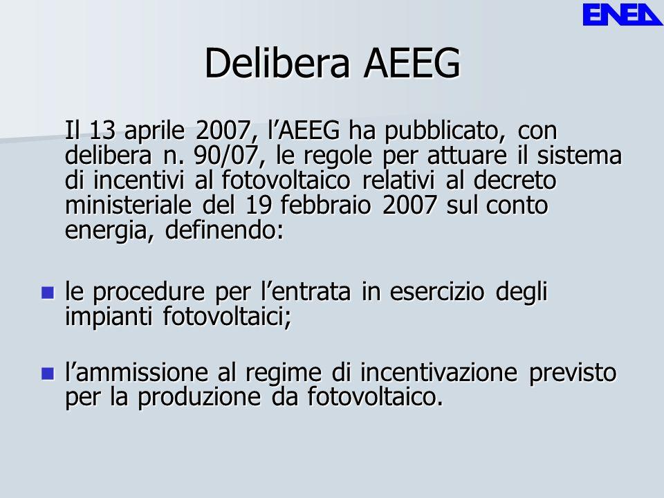 Delibera AEEG Il 13 aprile 2007, lAEEG ha pubblicato, con delibera n. 90/07, le regole per attuare il sistema di incentivi al fotovoltaico relativi al
