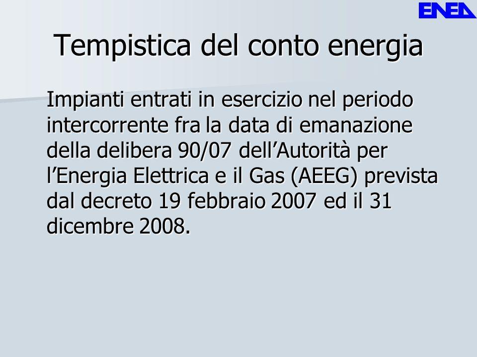 Tempistica del conto energia Impianti entrati in esercizio nel periodo intercorrente fra la data di emanazione della delibera 90/07 dellAutorità per l