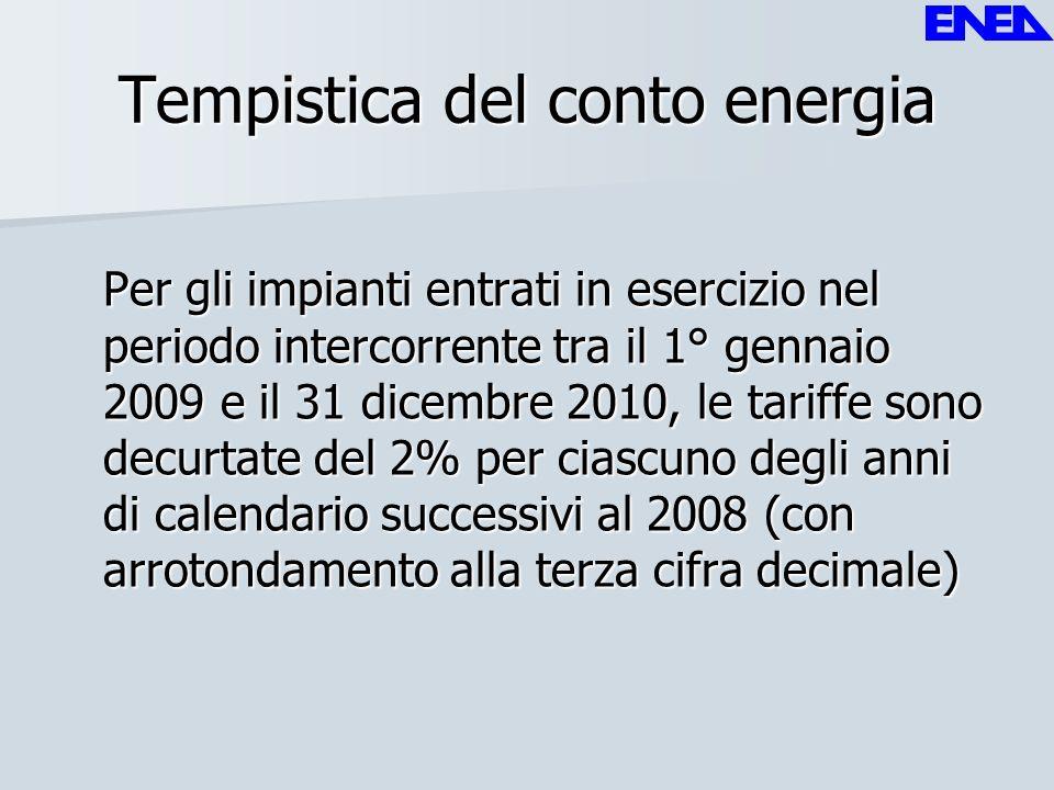 Tempistica del conto energia Per gli impianti entrati in esercizio nel periodo intercorrente tra il 1° gennaio 2009 e il 31 dicembre 2010, le tariffe