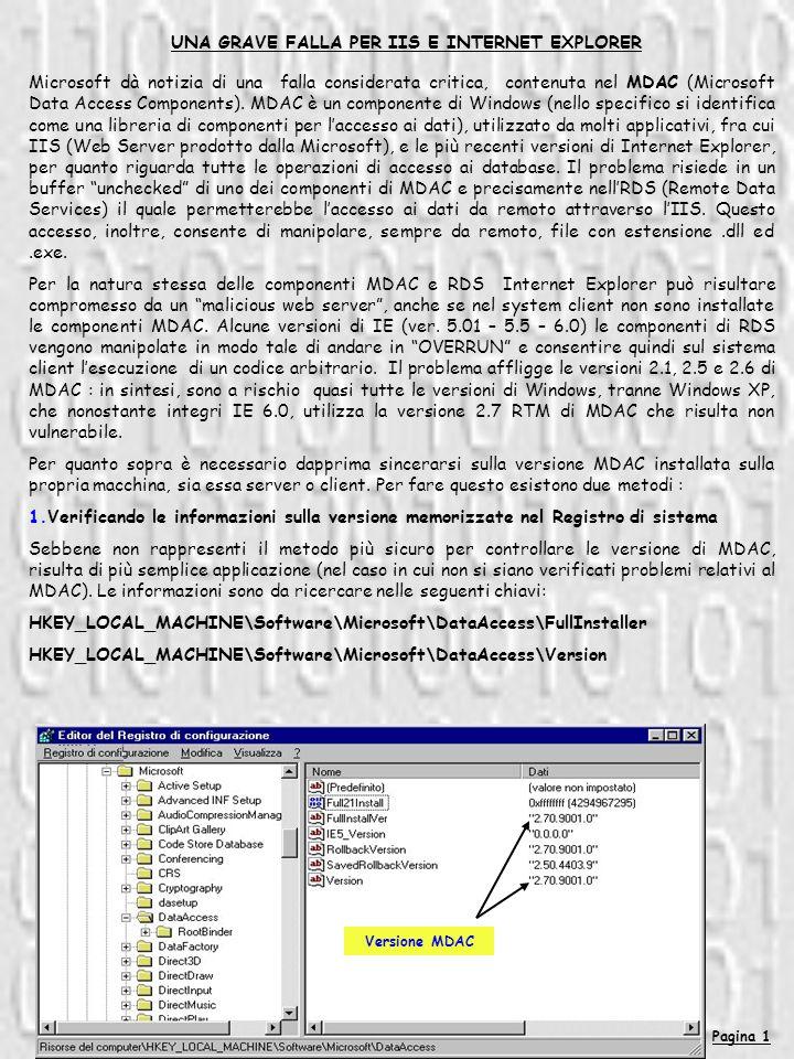 Pagina 1 UNA GRAVE FALLA PER IIS E INTERNET EXPLORER Microsoft dà notizia di una falla considerata critica, contenuta nel MDAC (Microsoft Data Access