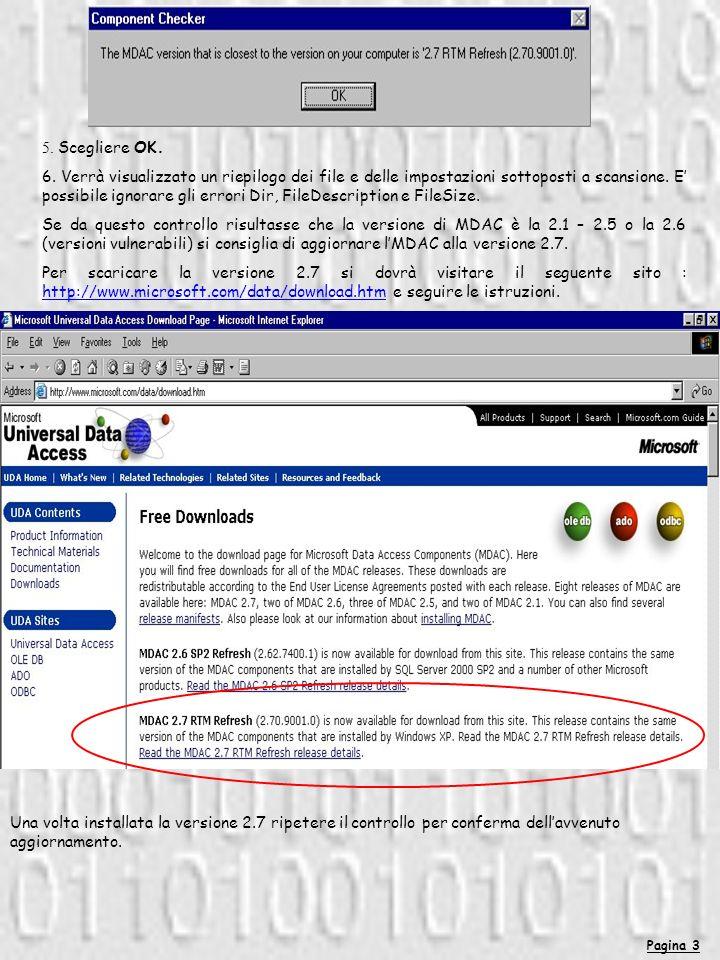 Pagina 3 5. Scegliere OK. 6. Verrà visualizzato un riepilogo dei file e delle impostazioni sottoposti a scansione. E possibile ignorare gli errori Dir