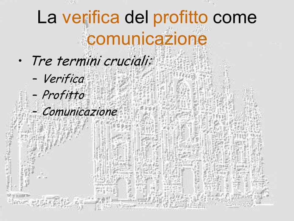 La verifica del profitto come comunicazione Tre termini cruciali: –Verifica –Profitto –Comunicazione