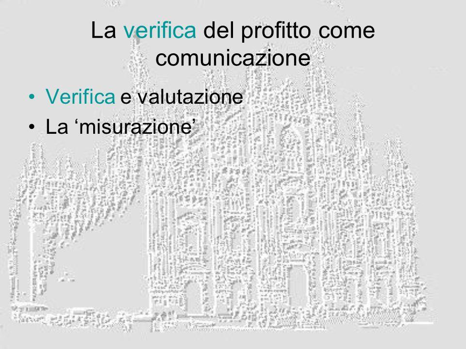 La verifica del profitto come comunicazione Verifica e valutazione La misurazione