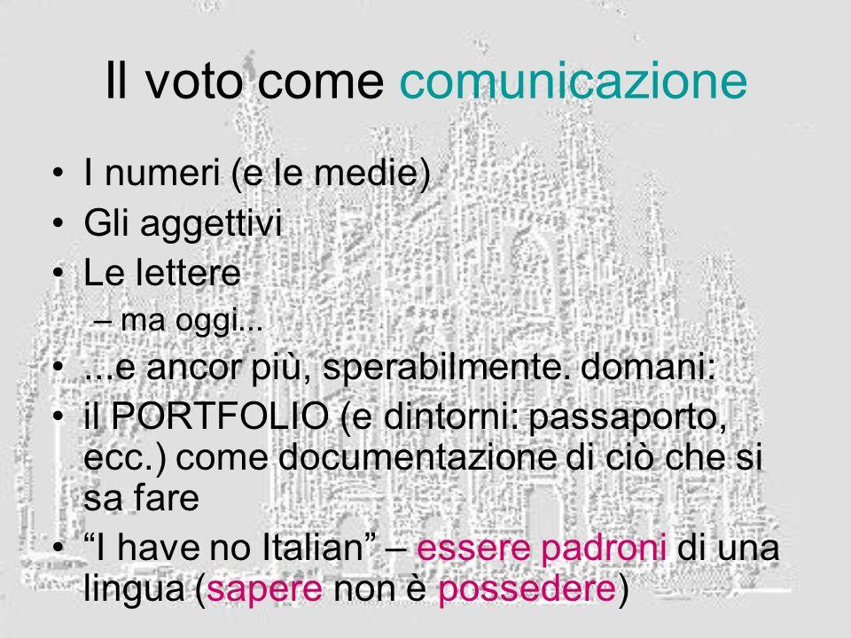 Il voto come comunicazione I numeri (e le medie) Gli aggettivi Le lettere –ma oggi......e ancor più, sperabilmente.