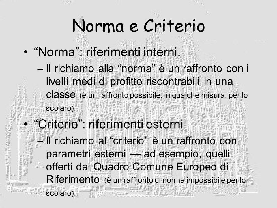 Norma e Criterio Norma: riferimenti interni.