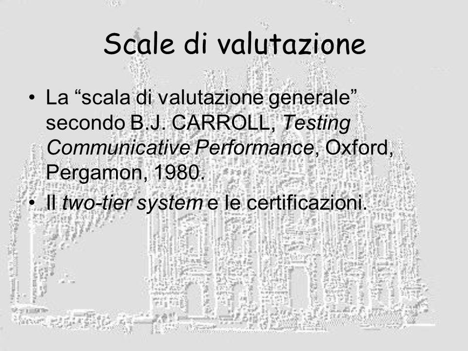 Scale di valutazione La scala di valutazione generale secondo B.J.