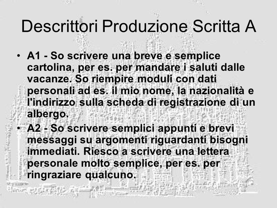 Descrittori Produzione Scritta A A1 - So scrivere una breve e semplice cartolina, per es.