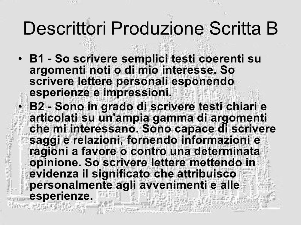 Descrittori Produzione Scritta B B1 - So scrivere semplici testi coerenti su argomenti noti o di mio interesse.