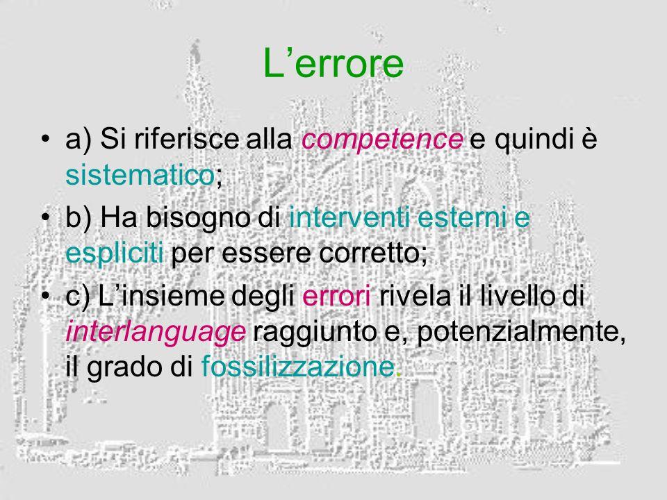 Lerrore a) Si riferisce alla competence e quindi è sistematico; b) Ha bisogno di interventi esterni e espliciti per essere corretto; c) Linsieme degli errori rivela il livello di interlanguage raggiunto e, potenzialmente, il grado di fossilizzazione.