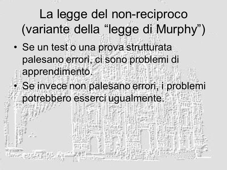 La legge del non-reciproco (variante della legge di Murphy) Se un test o una prova strutturata palesano errori, ci sono problemi di apprendimento.
