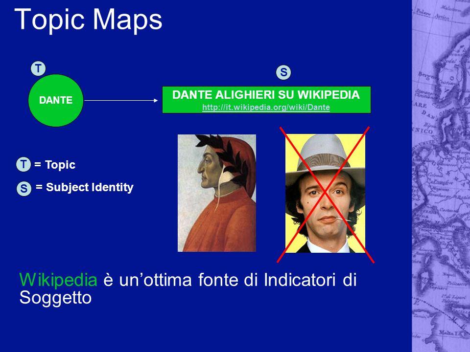 Topic Maps DANTE T S T S = Topic = Subject Identity DANTE ALIGHIERI SU WIKIPEDIA http://it.wikipedia.org/wiki/Dante http://it.wikipedia.org/wiki/Dante