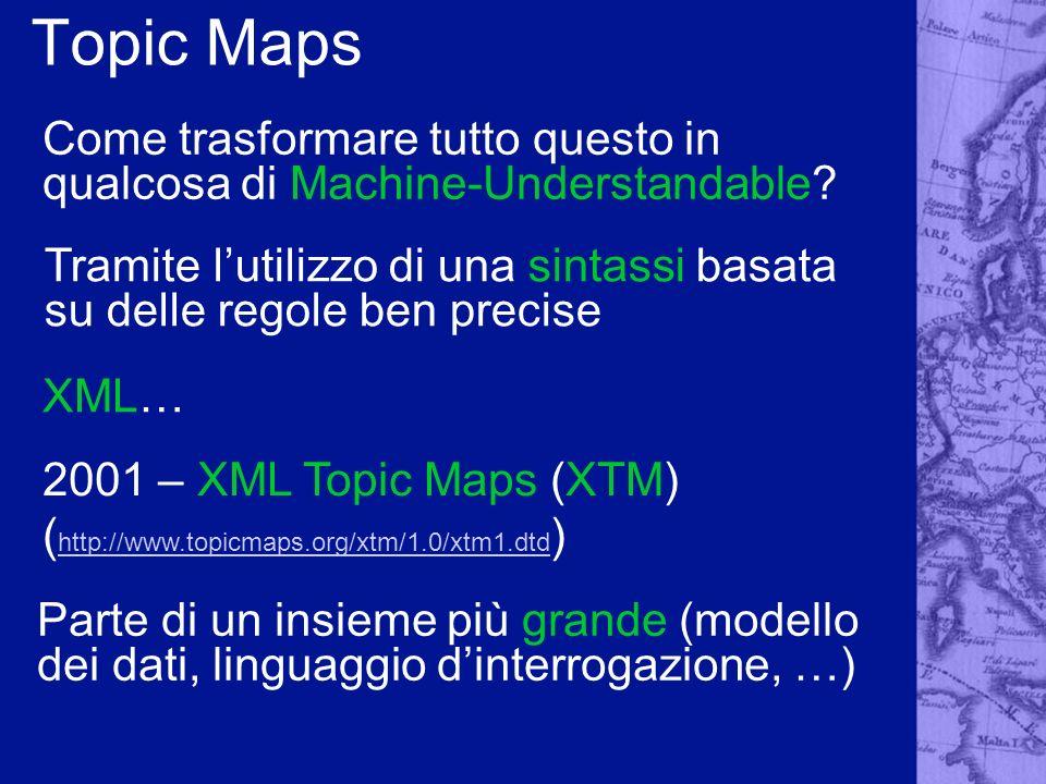 Topic Maps Come trasformare tutto questo in qualcosa di Machine-Understandable? Tramite lutilizzo di una sintassi basata su delle regole ben precise X