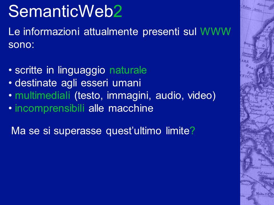 SemanticWeb3 Progetto del W3C Tecnologie chiave: RDF, RDFSchema, OWL (TopicMaps).