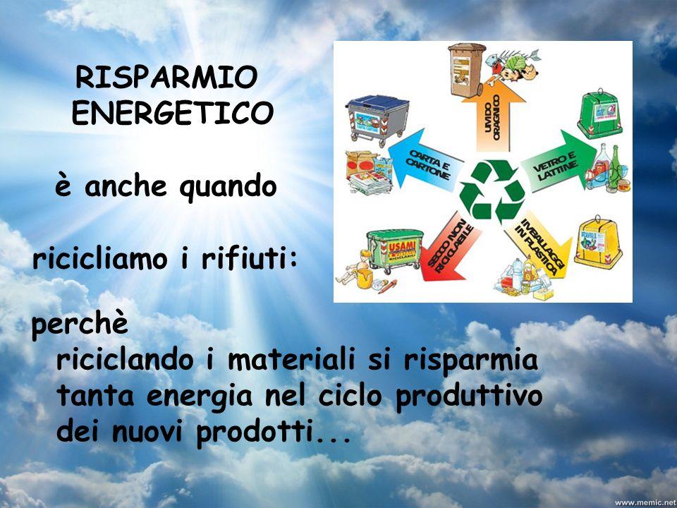 RISPARMIO ENERGETICO è anche quando ricicliamo i rifiuti: perchè riciclando i materiali si risparmia tanta energia nel ciclo produttivo dei nuovi prod