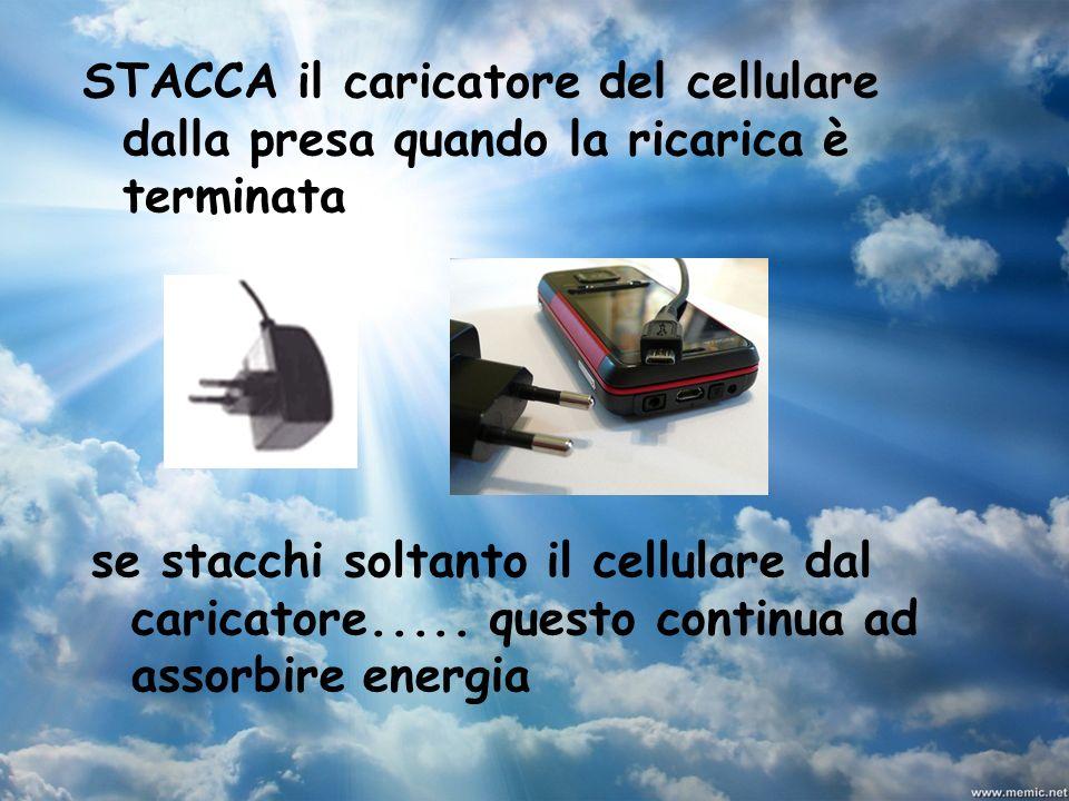 STACCA il caricatore del cellulare dalla presa quando la ricarica è terminata se stacchi soltanto il cellulare dal caricatore..... questo continua ad