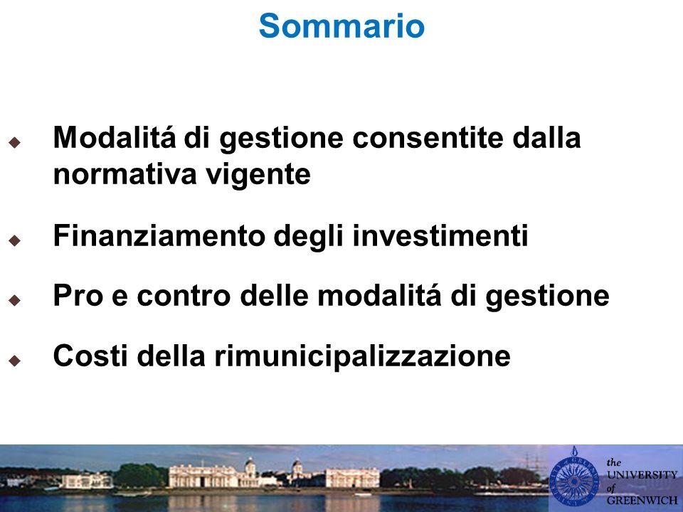 Sommario Modalitá di gestione consentite dalla normativa vigente Finanziamento degli investimenti Pro e contro delle modalitá di gestione Costi della rimunicipalizzazione