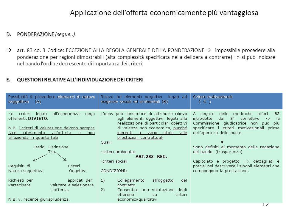 12 Applicazione dellofferta economicamente più vantaggiosa D.PONDERAZIONE D.PONDERAZIONE (segue..) art. 83 co. 3 Codice: ECCEZIONE ALLA REGOLA GENERAL