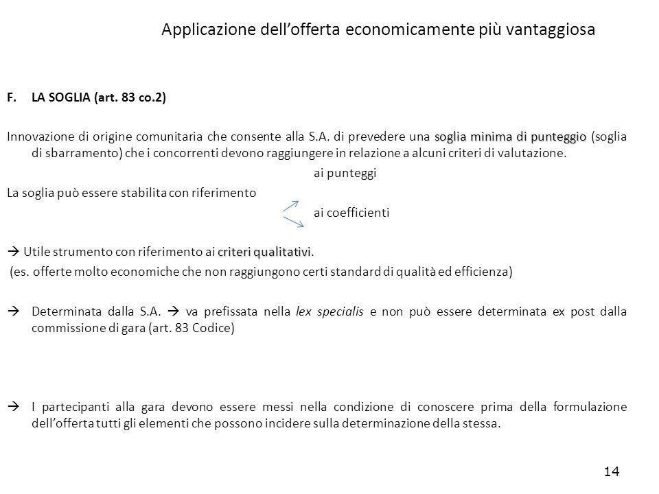 14 Applicazione dellofferta economicamente più vantaggiosa F.LA SOGLIA (art. 83 co.2) soglia minima di punteggio Innovazione di origine comunitaria ch