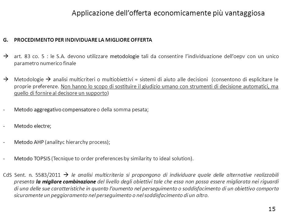 15 Applicazione dellofferta economicamente più vantaggiosa G.PROCEDIMENTO PER INDIVIDUARE LA MIGLIORE OFFERTA metodologie art. 83 co. 5 : le S.A. devo