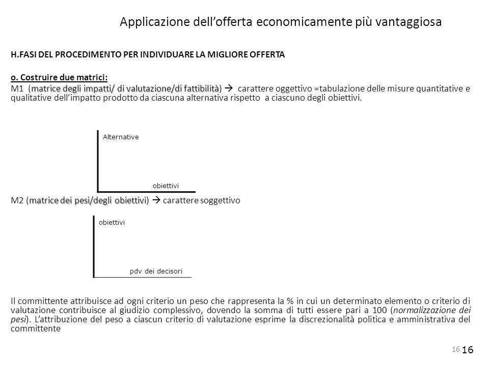 16 Applicazione dellofferta economicamente più vantaggiosa H.FASI DEL PROCEDIMENTO PER INDIVIDUARE LA MIGLIORE OFFERTA o. Costruire due matrici: matri