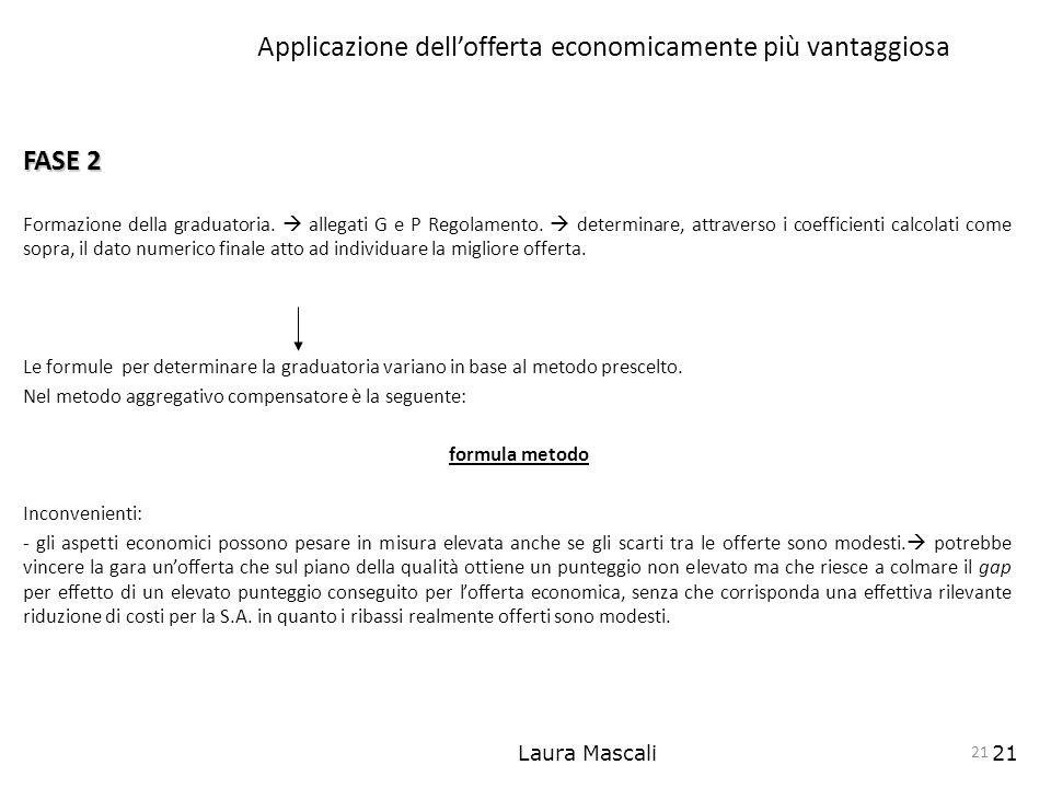 Laura Mascali21 Applicazione dellofferta economicamente più vantaggiosa FASE 2 Formazione della graduatoria. allegati G e P Regolamento. determinare,