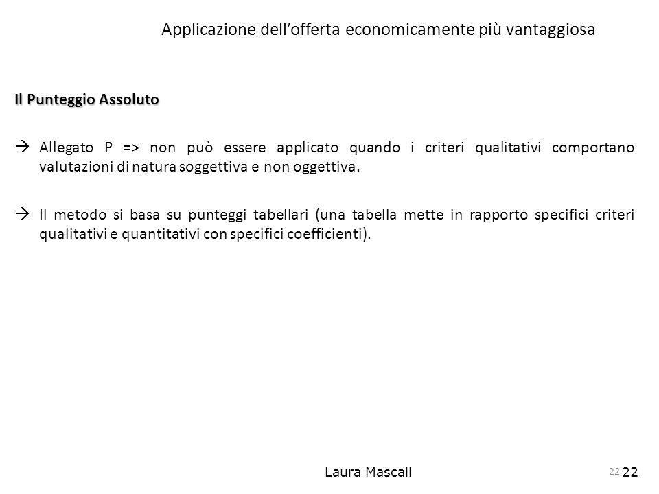 Laura Mascali22 Applicazione dellofferta economicamente più vantaggiosa Il Punteggio Assoluto Allegato P => non può essere applicato quando i criteri