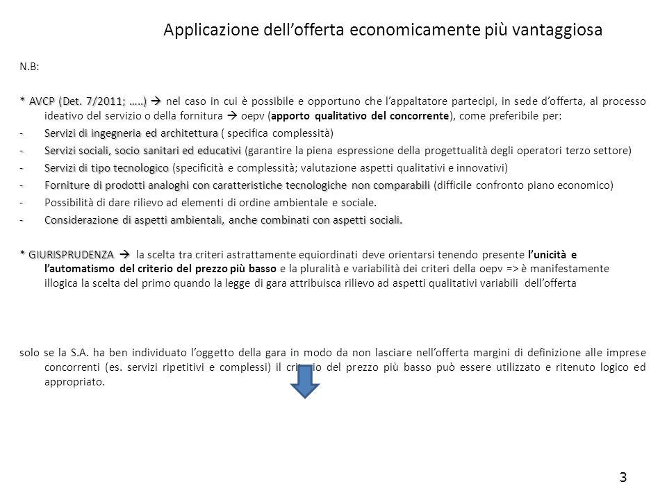3 Applicazione dellofferta economicamente più vantaggiosa N.B: * AVCP (Det. 7/2011; …..) * AVCP (Det. 7/2011; …..) nel caso in cui è possibile e oppor