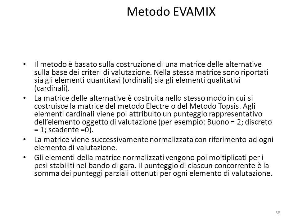 38 Metodo EVAMIX Il metodo è basato sulla costruzione di una matrice delle alternative sulla base dei criteri di valutazione. Nella stessa matrice son